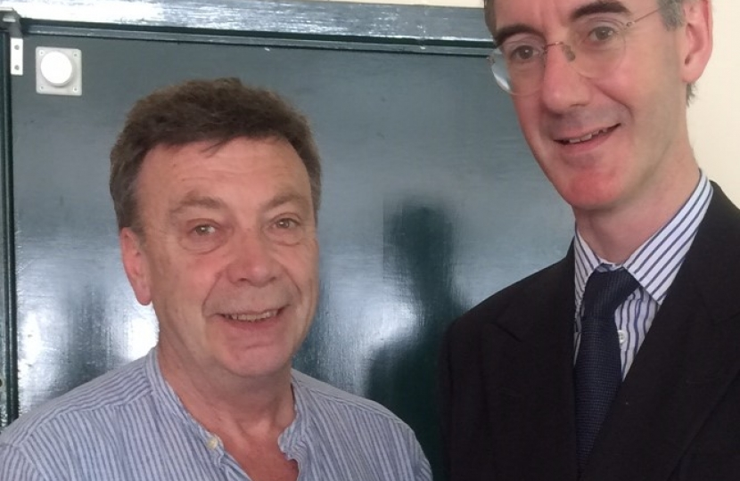 Andrew Eade with Jacob Rees Mogg